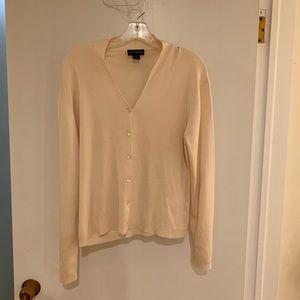 Ann Taylor 100% Silk cream sweater cardigan XL